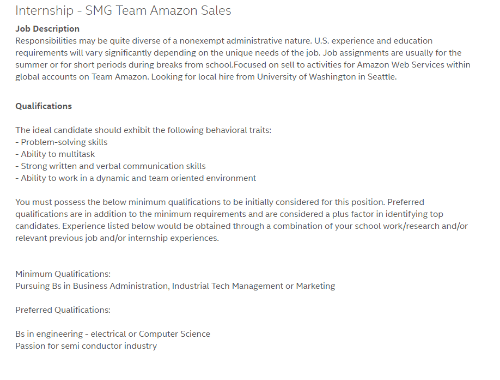 Recruiting Hell, Job, And Washington: Internship SMG Team Amazon Sales Job  Description Responsibilities