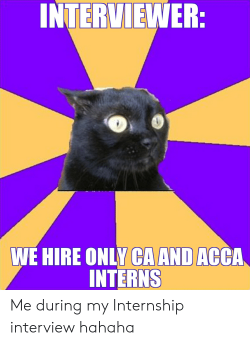 INTERVIEWER WE HIRE ONLY CA AND ACCA INTERNS Me During My