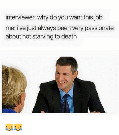 Memes, Death, and Passionate: interviewer: why do you want this job  me: i've just always been very passionate  about not starving to death 😹😹