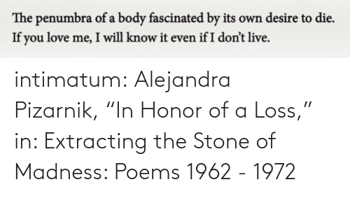 """Tumblr, Blog, and Poems: intimatum: Alejandra Pizarnik,""""In Honor of a Loss,"""" in: Extracting the Stone of Madness: Poems 1962 - 1972"""