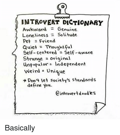 INTROVERT DICTIONARY Awkward Genuine Loneliness Solitude ...