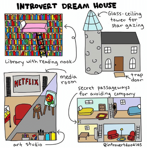 Introvert, Memes, and Netflix: INTRovERT DREAM HOUSE  il  lass-ceiling  tower for  Star aazin  Library with readina nook  trap  NETFLIX  media  r6o  Secret paSSage woys  for avoidina compon  田  ort Studio  Qintrovertdoodles