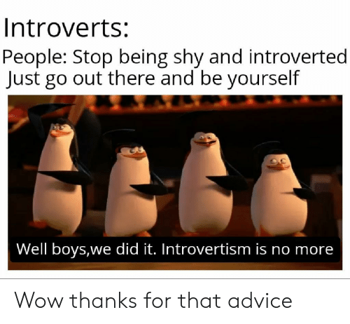 Advice, Wow, and Boys: Introverts:  People: Stop being shy and introverted  Just go out there and be yourself  Well boys,we did it. Introvertism is no more Wow thanks for that advice