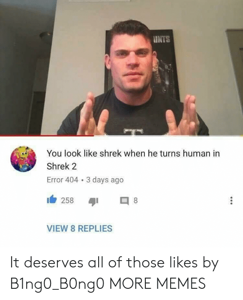 Dank, Memes, and Shrek: INTS  You look like shrek when he turns human in  Shrek 2  Error 404 3 days ago  1 258  VIEW 8 REPLIES It deserves all of those likes by B1ng0_B0ng0 MORE MEMES