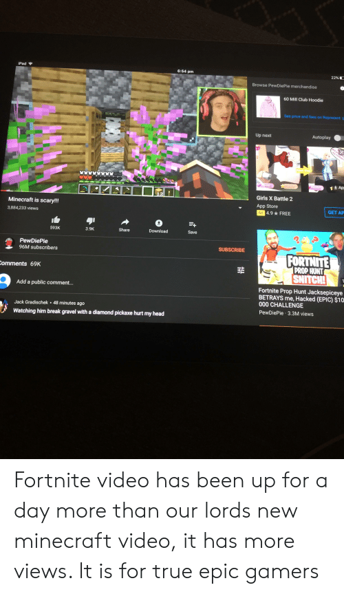 Clothes, Club, and Girls: iPad  6:54 pm  22%  Browse PewDiePie merchandise  60 Mill Club Hoodie  See price and fees on Represent E  Autoplay  Up next  my clothes?  hok pip  1Ap  Leave  Sleep  Admit  12  Girls X Battle 2  App Store  Minecraft is scary!!!  GET AP  Ad 4.9 FREE  3,884,233 views  Share  Download  Save  3.9K  593K  PewDiePie  SUBSCRIBE  96M subscribers  FORTNITE  PROP,HUNT  NITCH!  Comments 69K  Fortnite Prop Hunt Jacksepiceye  BETRAYS me, Hacked (EPIC) $10  90 CHALLENGE  Add a public comment...  Jack Gradischek 48 minutes ago  PewDiePie 3.3M views  Watching him break gravel witha diamond pickaxe hurt my head Fortnite video has been up for a day more than our lords new minecraft video, it has more views. It is for true epic gamers