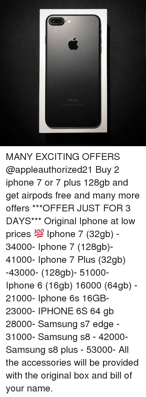 iPhone MANY EXCITING OFFERS Buy 2 Iphone 7 or 7 Plus 128gb