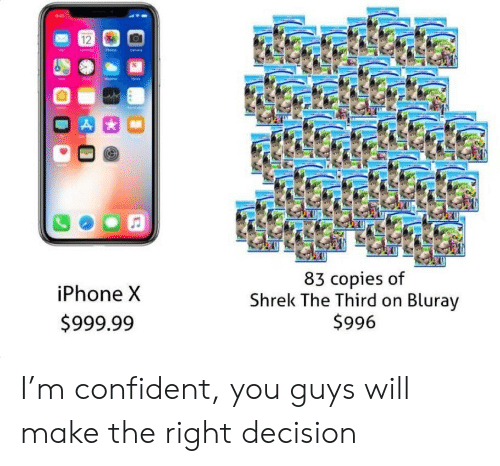 Iphone, Shrek, and Will: iPhone X  $999.99  83 copies of  Shrek The Third on Blurav  $996 I'm confident, you guys will make the right decision