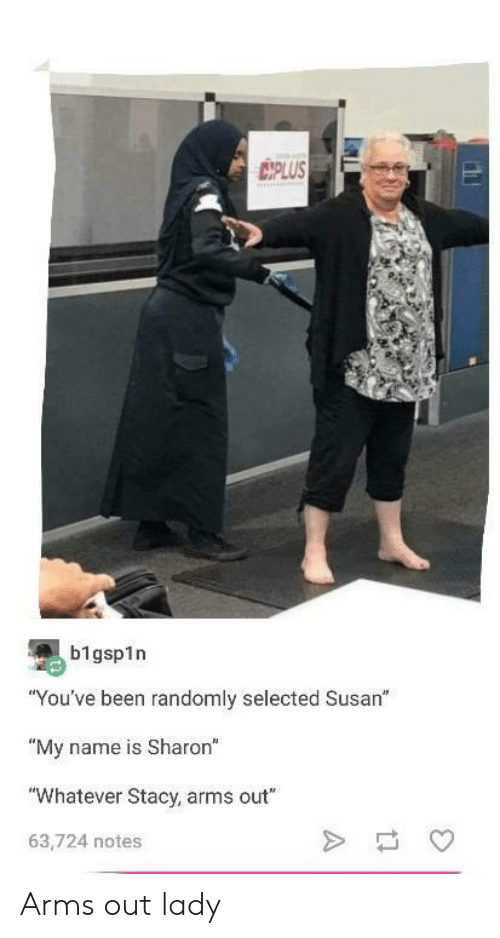 "Selected, Been, and Arms: IPLUS  b1gsp1n  ""You've been randomly selected Susan""  ""My name is Sharon""  ""Whatever Stacy, arms out""  63,724 notes Arms out lady"
