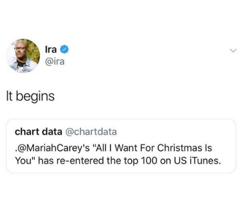 "All I Want for Christmas Is You, Anaconda, and Christmas: Ira  @ira  It begins  chart data @chartdata  .@MariahCarey's ""All I Want For Christmas Is  You"" has re-entered the top 100 on US iTunes."