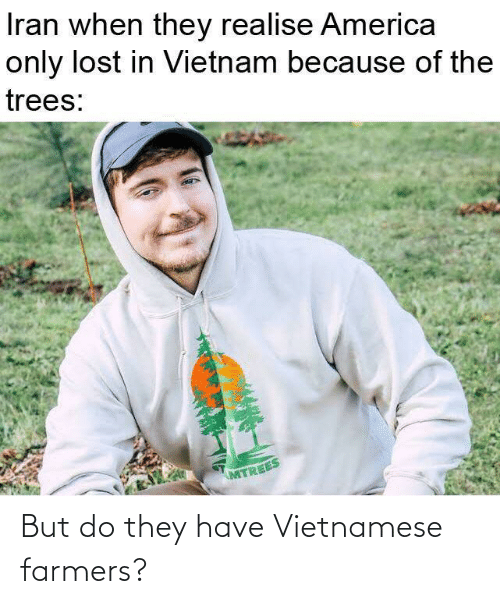 America, Lost, and Iran: Iran when they realise America  only lost in Vietnam because of the  trees:  MTREES But do they have Vietnamese farmers?