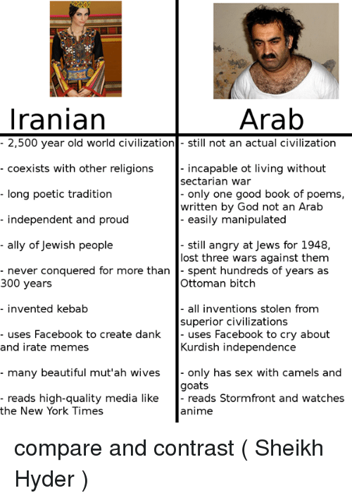 Animals, Anime, and Beautiful: Iranian  Arab  2,500 year old world civilization  still not an actual civilization  coexists with other religions  incapable ot living without  sectarian war  only one good book of poems  long poetic tradition  written by God not an Arab  independent and proud  easily manipulated  ally of Jewish people  still angry at Jews for 1948,  lost three wars against them  never conquered for more than  spent hundreds of years as  300 years  Ottoman bitch  invented kebab  all inventions stolen from  superior civilizations  uses Facebook to create dank  uses Facebook to cry about  Kurdish independence  and irate memes  many beautiful mut'ah wives only has sex with camels and  goats  reads high-quality media like  reads Stormfront and watches  the New York Times  anime compare and contrast  (☫ Sheikh Hyder ☫)
