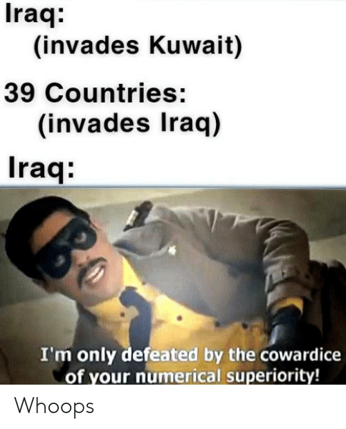 History, Iraq, and Kuwait: Iraq:  (invades Kuwait)  39 Countries:  (invades Iraq)  Iraq:  I'm only defeated by the cowardice  of your numerical superiority! Whoops