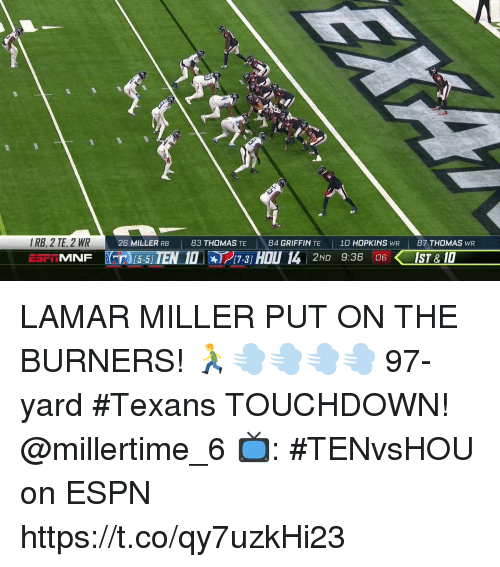 Espn, Memes, and Texans: IRB, 2 TE, 2 WR  26 MILLER RB  83 THOMAS TE  84 GRIFFIN TE  10 HOPKINS WR  87 THOMAS WR  MNF T 15-5 IEN 10-3 HOU 14 2ND 9:36 IST& 10  17-3] LAMAR MILLER PUT ON THE BURNERS! 🏃💨💨💨💨  97-yard #Texans TOUCHDOWN! @millertime_6   📺: #TENvsHOU on ESPN https://t.co/qy7uzkHi23