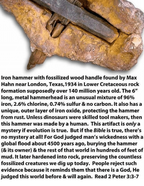 Iron hammer found in cretaceous rock
