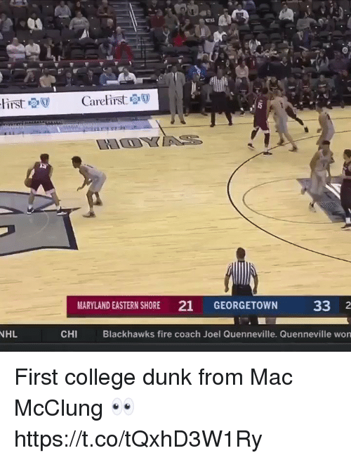 Blackhawks, College, and Dunk: ir's  MARYLAND EASTERN SHORE 21 GEORGETOWN  33 2  NHL  CHI  Blackhawks fire coach Joel Quenneville. Quenneville won First college dunk from Mac McClung 👀 https://t.co/tQxhD3W1Ry