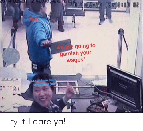 Irs, Reddit, and Dare: IRS  we are going to  garnish your  wages  o ban Try it I dare ya!