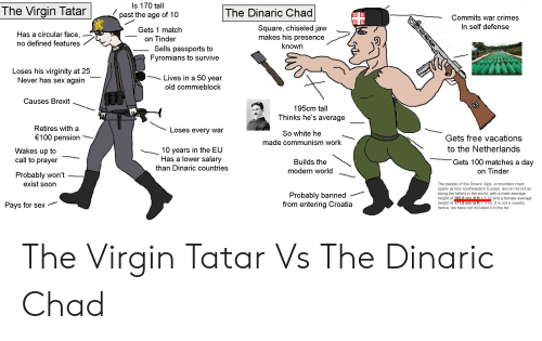 Sex, Soon..., and Tinder: Is 170 tall  The Virgin Tatar  The Dinaric Chad  past the age of 10  Commits war crimes  In self defense  Square, chiseled jaw  makes his presence  Gets 1 match  Has a circular face,  no defined features  on Tinder  Sells passports to  Fyromians to survive  known  Loses his virginity at 25  Lives in a 50 year  old commieblock  Never has sex  again  Causes Brexit  195cm tall  Thinks he's average  Retires with a  Loses every war  So white he  €100 pension  Gets free vacations  made communism work  to the Netherlands  10 years in the EU  Has a lower salary  than Dinaric countries  Wakes up to  call to prayer  Gets 100 matches a day  Builds the  modern world  on Tinder  Probably won't  exist soon  The people of the Dinaric Alps, a mountain chain  spans across southeastern Europe, are on record as  being the tallest in the world, with a male average  height of 185.6 cm (6 ft 1 1 in) and a female average  height of 171.0 cm (5 ft 7.3 In). It is not a country  hence, we have not included it in the list.  Probably banned  from entering Croatia  Pays for sex The Virgin Tatar Vs The Dinaric Chad