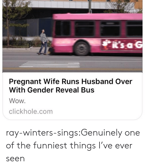 Pregnant, Target, and Tumblr: i's aG  Pregnant Wife Runs Husband Over  With Gender Reveal Bus  Wow.  clickhole.com ray-winters-sings:Genuinely one of the funniest things I've ever seen
