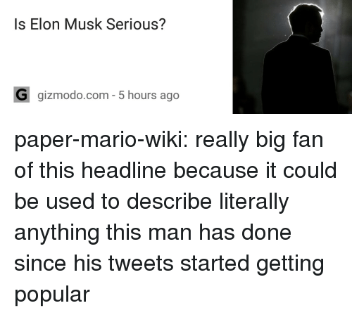Target, Tumblr, and Mario: Is Elon Musk Serious?  G gizmodo.com- 5 hours ago paper-mario-wiki:  really big fan of this headline because it could be used to describe literally anything this man has done since his tweets started getting popular