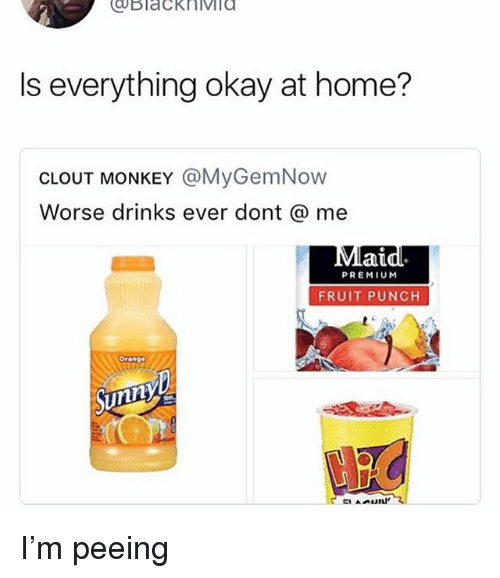 Memes, Home, and Monkey: Is everything okay at home?  CLOUT MONKEY @MyGemNow  Worse drinks ever dont @ me  ai  PREMIUM  FRUIT PUNCH  Orange I'm peeing
