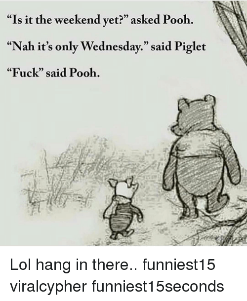 """Funny, Lol, and Fuck: """"Is it the weekend vet?"""" asked Pooh.  """"Nah it's only Wednesday."""" said Piglet  """"Fuck"""" said Pooh. Lol hang in there.. funniest15 viralcypher funniest15seconds"""