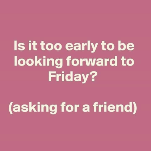 Friday, Memes, and Asking: Is it too early to be  looking forward to  Friday?  asking for a friend)