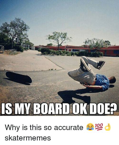 Doe, Skate, and Board: IS MY BOARD OK DOE? Why is this so accurate 😂💯👌 skatermemes