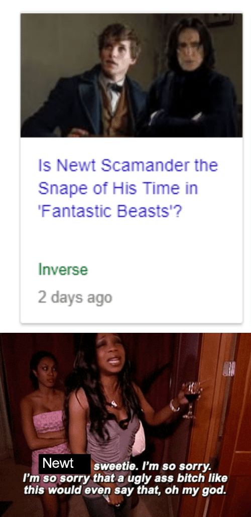 God, Oh My God, and Sorry: Is Newt Scamander the  Snape of His Time in  Fantastic Beasts'?  Inverse  2 days ago   Newt sweetie. I'm so sorry.  I'm so sorry that a ugly ass bitch like  this would even say that, oh my god.
