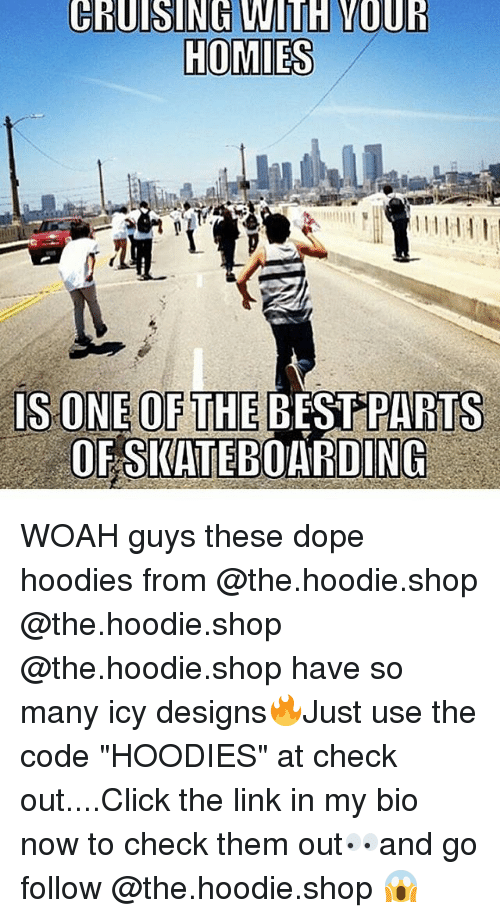 "Click, Dope, and Best: IS ONE OF THE BEST PARTS  OFSKATEBOARDING WOAH guys these dope hoodies from @the.hoodie.shop @the.hoodie.shop @the.hoodie.shop have so many icy designs🔥Just use the code ""HOODIES"" at check out....Click the link in my bio now to check them out👀and go follow @the.hoodie.shop 😱"