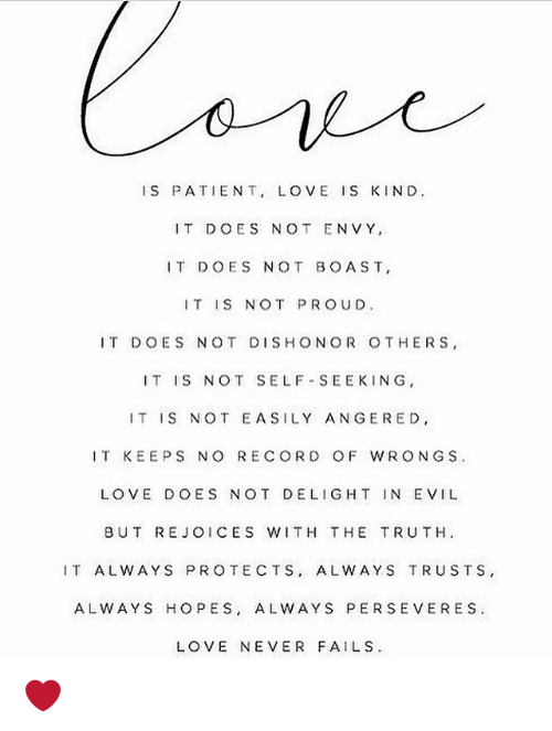 Is Patient Love Is Kind It Does Not Envy It Does Not Boast It Is Not