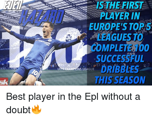 Memes, 🤖, and Epl: IS THE FIRST  PLAYER IN  EUROPE'S TOP  MPLETEH00  SUCCESSFUL  MPIONS LEAGUE  DRIBBLES  THIS SEASON Best player in the Epl without a doubt🔥