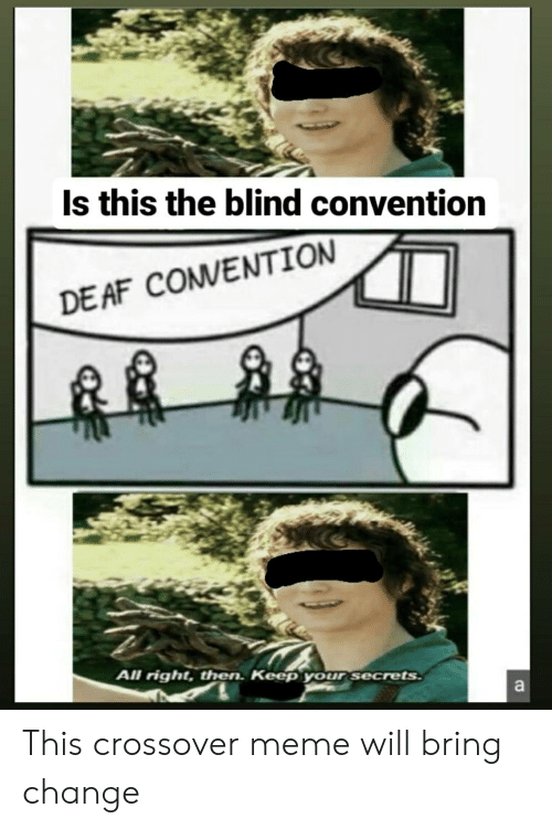 Af, Meme, and Change: Is this the blind convention  DE AF COMVENTION  All right, then. Keep your secrets  a This crossover meme will bring change