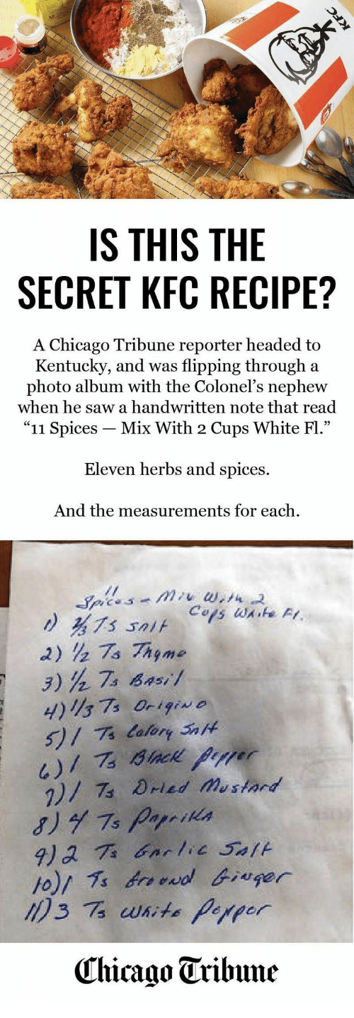 IS THIS THE SECRET KFC RECIPE? A Chicago Tribune Reporter Headed to