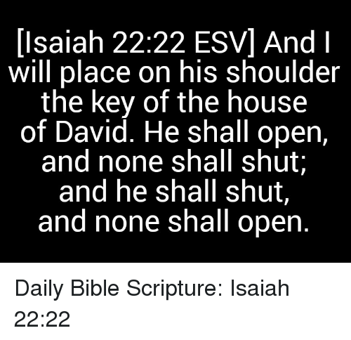 Isaiah 2222 ESV and Will Place on His Shoulder the Key of