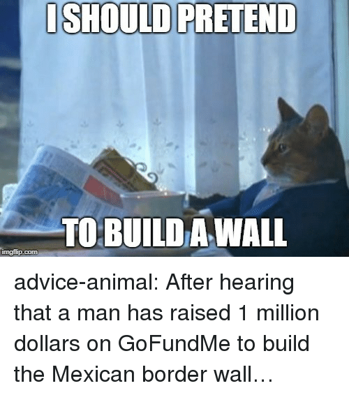 Advice, Tumblr, and Animal: ISHOULD PRETEND  TO BUILD A WALL  imgflip.com advice-animal:  After hearing that a man has raised 1 million dollars on GoFundMe to build the Mexican border wall…