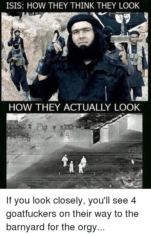 Isis, Memes, and Orgy: ISIS: HOW THEY THINK THEY LOOK  HOW THEY ACTUALLY LOOK If you look closely, you'll see 4 goatfuckers on their way to the barnyard for the orgy...