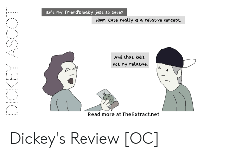 Cute, Friends, and Kids: Isn't my friend's baby just so cute?  Hmm. Cute really is a relative concept.  And that kid's  mot my relative.  Read more at TheExtract.net Dickey's Review [OC]