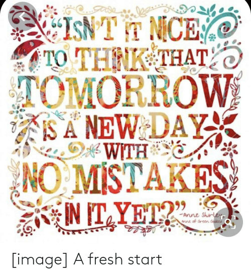 """Fresh, Image, and Tomorrow: ISNT T MCE  TO THNK THATO  TOMORROW  SA NEW DAY  WITH  NO MISTAKES  IN IT YET?""""  -Arune Shirley  Arune of Green Gabiei [image] A fresh start"""
