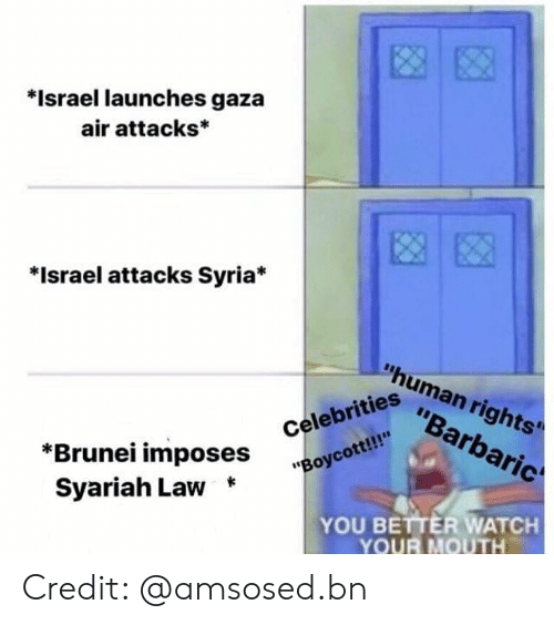 "Memes, Israel, and Syria: *Israel launches gaza  air attacks*  *Israel attacks Syria*  ""human rights'  ""Barbaric  ""Boycott!!  Syariah Law *  iahi ^Oses Celebrities  YOU BETTER WATCH  YOUR MOUTH Credit: @amsosed.bn"