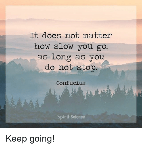 It Does Not Matter How Slow You Go As Long As You Do Not