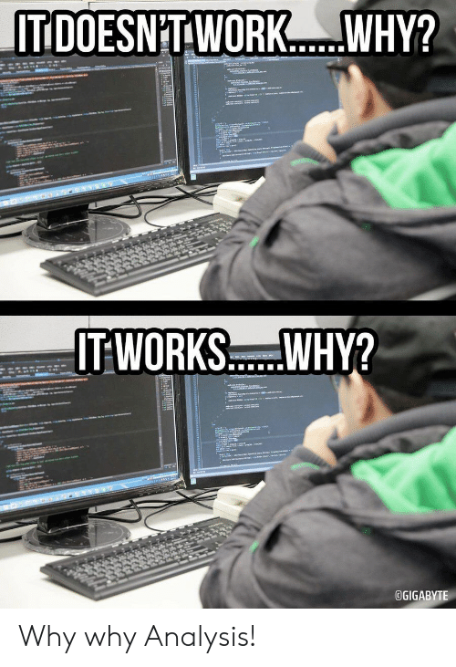 Work, Why, and Works: IT DOESNT WORK.  WHY?  atews  स्  a  IT WORKS..WHY?  m  www.  OGIGABYTE Why why Analysis!