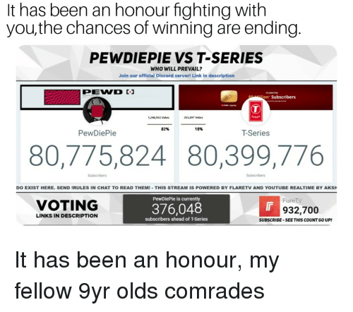 youtube.com, Chat, and Link: It has been an honour fighting with  you,the chances of winning are ending.  PEWDIEPIE VST-SERIES  WHO WILL PREVAIL?  Join our official Discord server! Link in description  on Subscribers  1,246,963 votes  265,697 votes  82%  18%  PewDiePie  T-Series  80,775,824 80,399,776  DO EXIST HERE. SEND IRULES IN CHAT TO READ THEM!-THIS STREAM IS POWERED BY FLARETV AND YOUTUBE REALTIME BY AKSH  PewDiePie is currently  FlareTV  VOTING  376,048  Ir  932,700  LINKS IN DESCRIPTION  subscribers ahead of T-Series  SUBSCRIBE-SEE THIS COUNT GO UP!