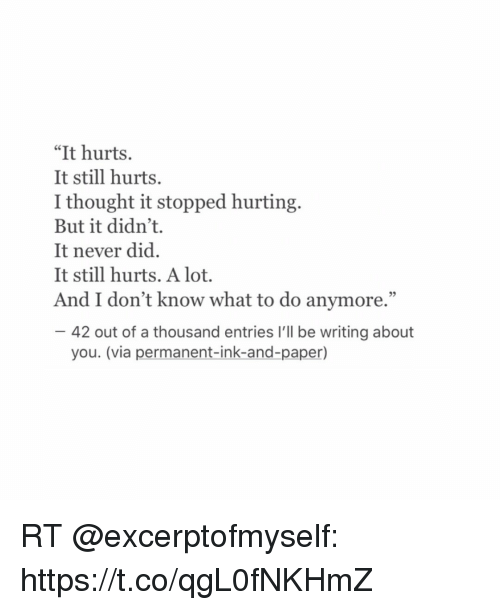 It Hurts It Still Hurts I Thought It Stopped Hurting But It Didn T It Never Did It Still Hurts A Lot And I Don T Know What To Do Anymore 42 Out Of