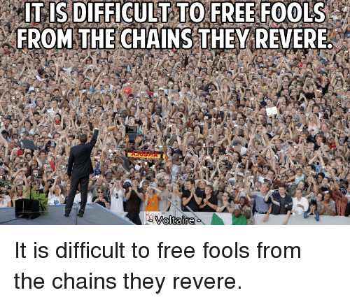 It Is Difficult To Free Fools From The Chains They Revere Voltaire Free Meme On Me Me