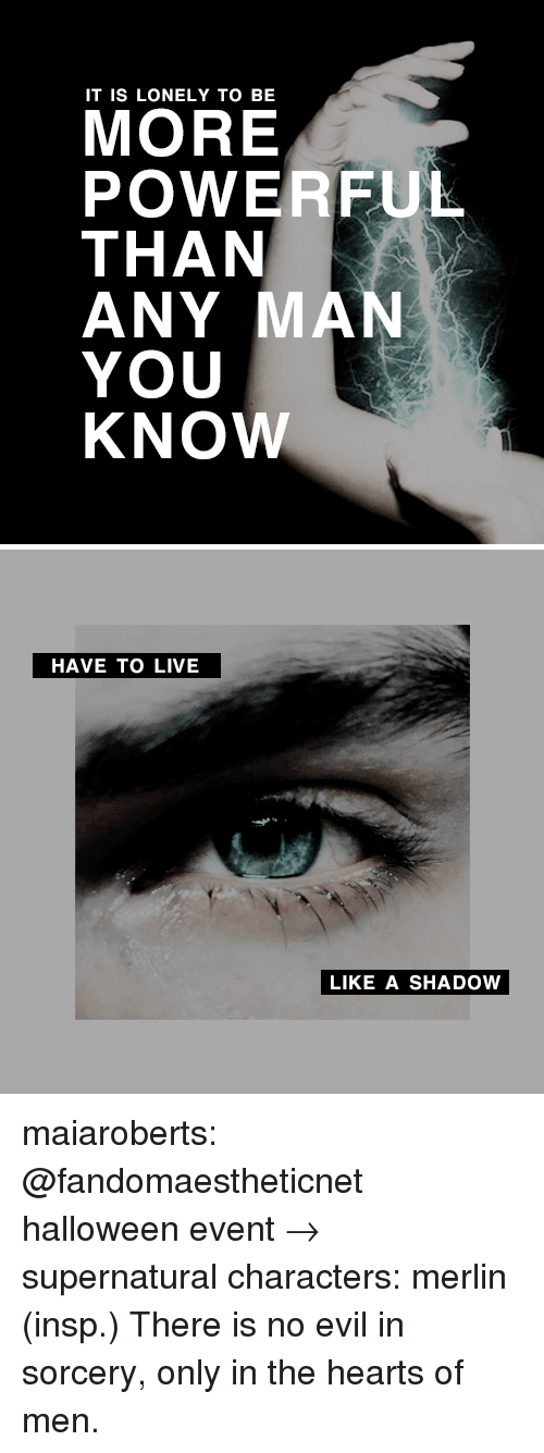 Halloween, Target, and Tumblr: IT IS LONELY TO BE  MORE  POWERFUL  THAN  ANY MAN  YOU  KNOW   HAVE TO LIVE  LIKE A SHADOW maiaroberts: @fandomaestheticnet halloween event→ supernatural characters: merlin (insp.) There is no evil in sorcery, only in the hearts of men.