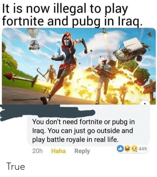 Life, True, and Iraq: It is now illegal to play  fortnite and pubg in Iraq.  You don't need fortnite or pubg in  Iraq. You can just go outside and  play battle royale in real life.  449  20h Haha Reply True