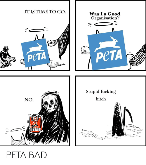 Bad, Bitch, and Fuck You: IT IS TIME TO GO  Was I a Gooc  Organisation?  PeTA  PeTA  Stupid fucking  bitch  NO  FUCK YOU PETA BAD