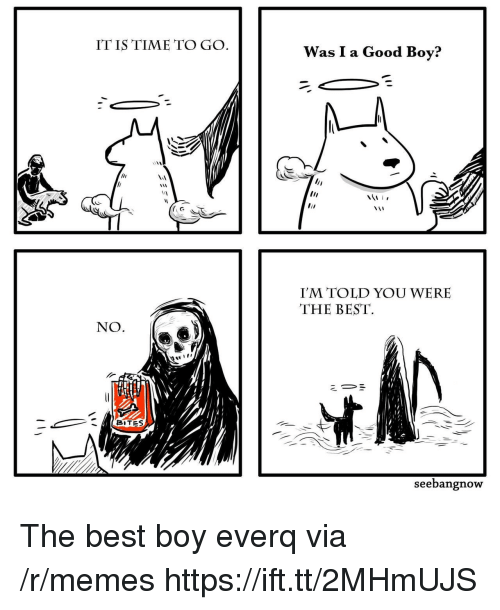 Memes, Best, and Good: IT IS TIME TO GO  Was I a Good Boy?  I'M TOLD YOU WERE  THE BEST  NO.  BITES  seebangnow The best boy everq via /r/memes https://ift.tt/2MHmUJS