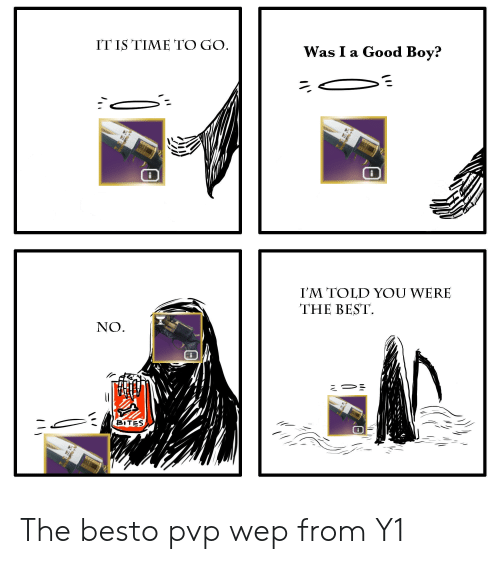 Destiny, Best, and Good: IT IS TIME TO GO.  Was I a Good Boy?  I'M TOLD YOU WERE  THE BEST  NO  BITES The besto pvp wep from Y1