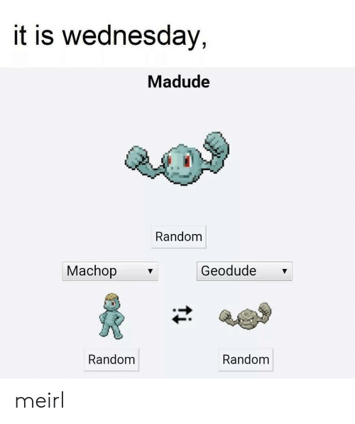 Wednesday, Geodude, and MeIRL: it is wednesday,  Madude  Random  Machop  Geodude  Random  Random meirl